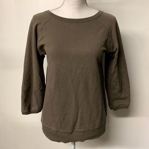 Zara Taupe Brown Wide Neck Wide Sleeve Sweatshirt
